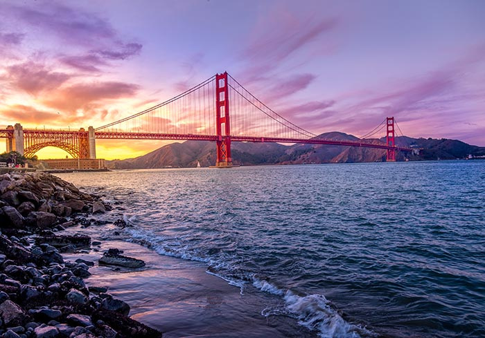 Golden Gate Bridge with Ocean and Water